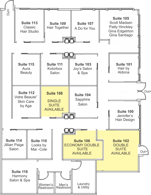 InStyle Salon Suites Elk Grove Village Floorplan