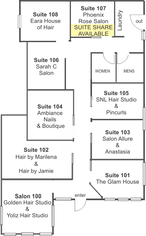 InStyle Salon Suites Palatine Floor Plan
